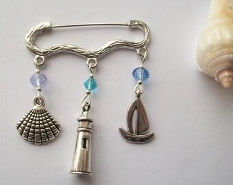 High Seas - Nautical themed pin brooch or bag charm