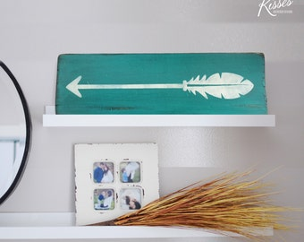 Turquoise Wash Feather Arrow