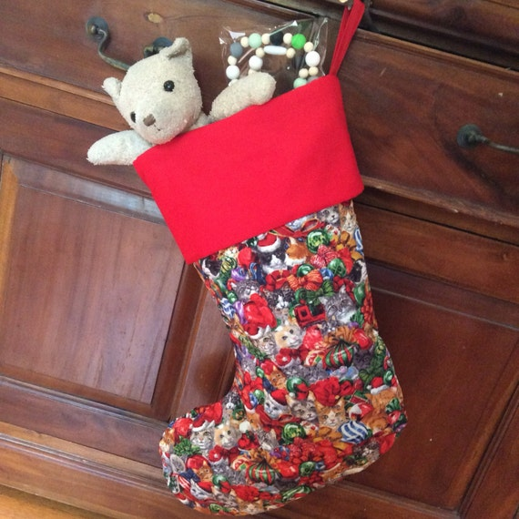 Cat Print Large Christmas Stockings, Quality Hand Made Padded and Lined, 55cm