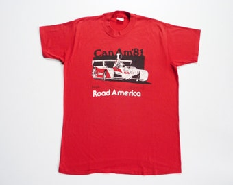 Vintage 80's Tee-Shirt Can Am Road America Paul Newman Car Racing Team 1981
