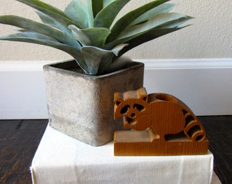 Carved Wooden Raccoon Figure