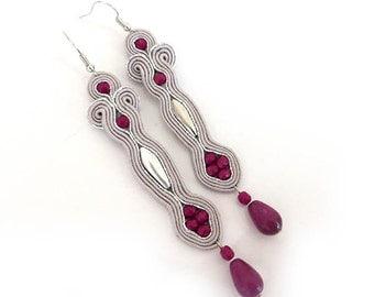 Extra long fuchsia soutache earrings dangle earrings colorful earrings Glam Long Statement Earrings Gift For Women Girlfriend Black Friday