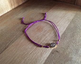 Evil eye bracelet purple cord