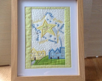 Machine embroidered Nursery rhyme picture, children's wall art, baby gift, christening, birthday gift, nursery child's bedroom