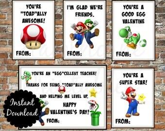 Mario Valentine's Day Cards - Instant Download - Super Mario Brothers - Printable Valentines - Mario Luigi Yoshi - Mario Valentine