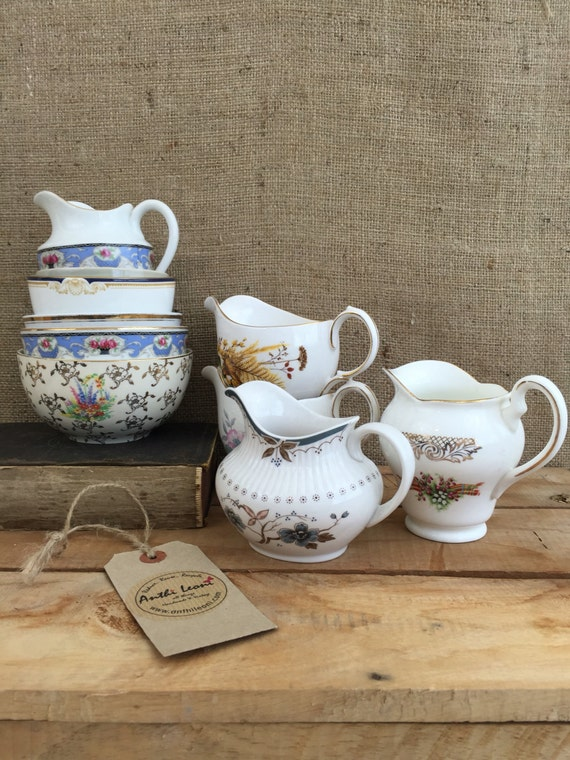 Job Lot Vintage China - 10 Mix and Match China Creamer Jugs / Milk Jugs and China Sugar Bowls for Weddings, Events, Cafes and Tea Parties