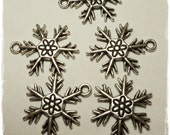 10 Silver Snowflake Pendants Charms  25mm