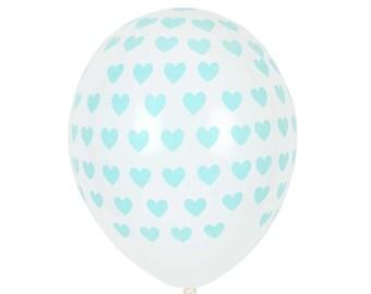 SALE:  Heart print balloons. Set of 5.   Heart latex balloons.  Valentine's Day party balloons.  Heart balloon. Bachelorette party balloons.