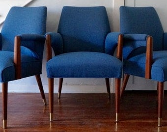 Gorgeous Mid-Century Armchair by Hiebert Furniture Reupholstered in Blue Tweed - Gorgeous Design!
