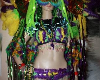 One of a kind Multicolor MardiGra Showgirl Carnival Circus Costume