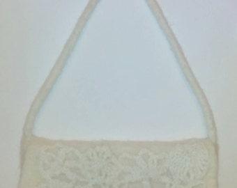Wool felted handbag , Felted Clutch , Bridal Bag