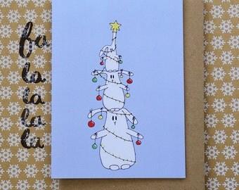 O Tannenbunny. Bunnies as Christmas tree. Cute quirky funny  Christmas card. Bunny Christmas greeting card.