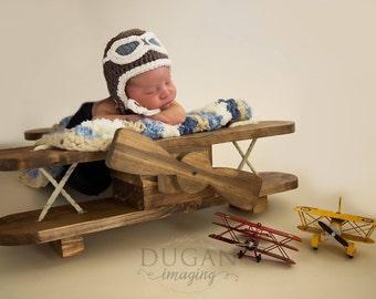 Newborn infant aviator pilot hat, baby aviator hat, infant aviator hat, baby pilot hat, newborn photo prop, aviator hat with goggles