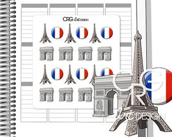 Paris Stickers | Planner Travel Erin Condren Plum Planner Filofax Sticker