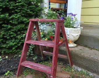 Vintage red step ladder