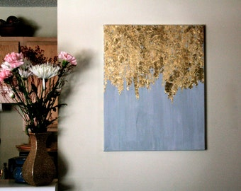 Golden Rain | Gold Leaf Painting | Modern Art | Acrylic Painting | Shabby Chic Artwork | Blue and Gold Painting