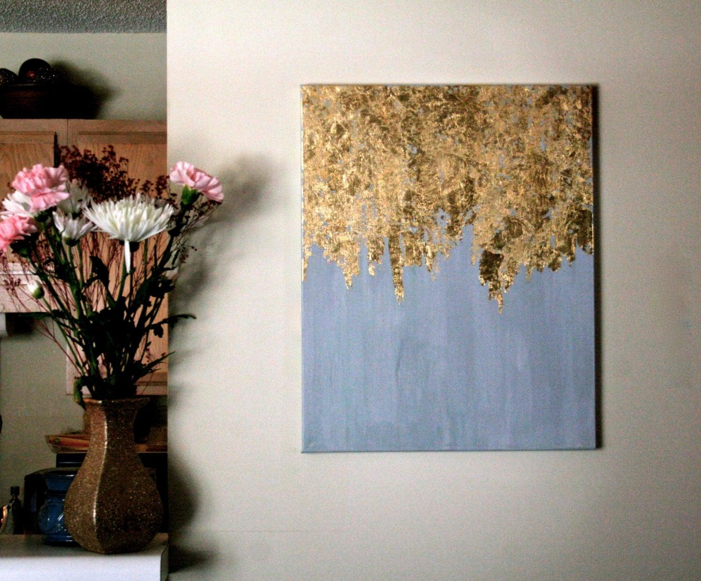 Shabby Chic Bedrooms Ideas Golden Rain Gold Leaf Painting Modern Art Acrylic