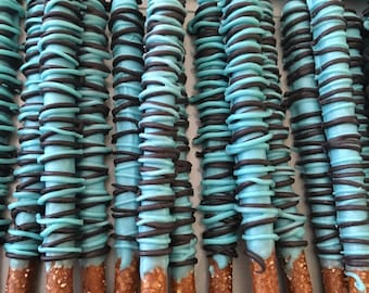 Blue and Black Chocolate Covered Pretzels