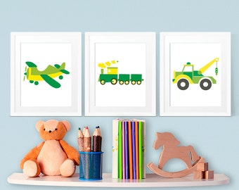 Prints for Boys, Plane, Train and Truck art in green and yellow, Nursery Print, 8x10, Bedroom Art, Childrens Room, INSTANT DOWNLOAD