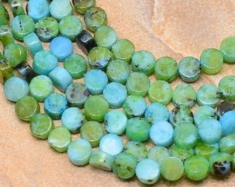 """Turquoise Natural Jasper Gemstone 8x3mm Button/Disc/Coin Beads (15.5"""" Strand)"""