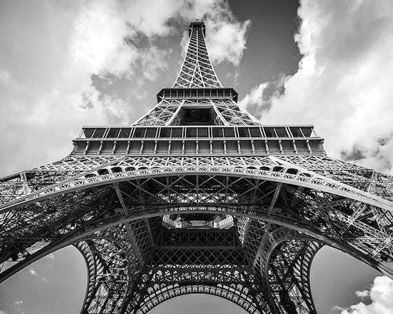 Eiffel tower wall art paris photography black and white for Eiffel tower wall mural black and white