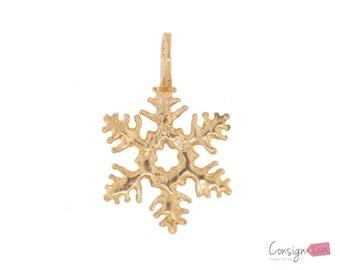 14k Yellow Gold Snowflake Pendant