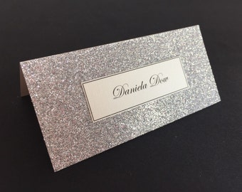 10x Glittered wedding place cards place setting wedding stationery