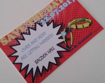 50 comic book super hero save the date 2 sizes or downloadable 300gsm