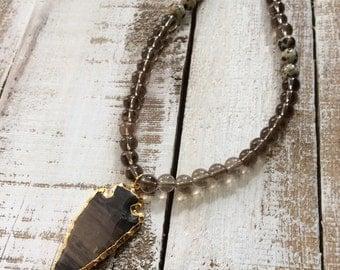 Beaded arrowhead necklace BOHO necklace Bohomian necklace