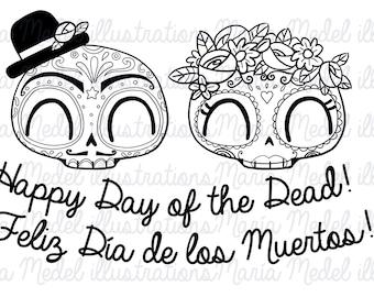 CALAVERAS DE HALLOWEEN DIVERTIDO.  Día de muertos, Día de los Muertos, Halloween.  Uso personal.  Descarga inmediata