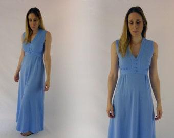 1970's Perriwinkle Blue Long Dress