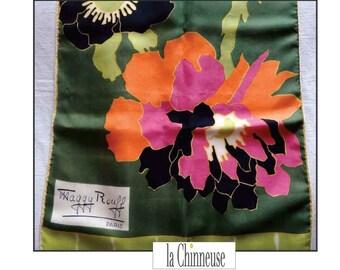VINTAGE SCARF Maggy ROUFF Silk 100% /Foulard Vintage Maggy rouff silk.