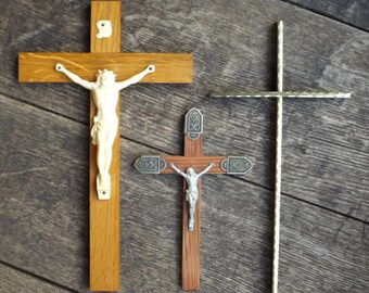 Vintage brass crucifix / Crucifix to hang or to ask former / old french Crucifix / cross brass