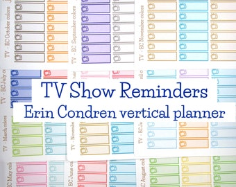 Monthly Matching TV Show Reminders-for use with Erin Condren Planner-Jan Feb March April May June July August September October November Dec