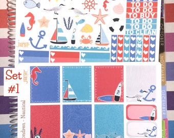 Nautical Stickers -for use with Erin Condren Happy Planner- Checklists Ombre Half boxes - marine sailboat sea anchor banner shells ocean