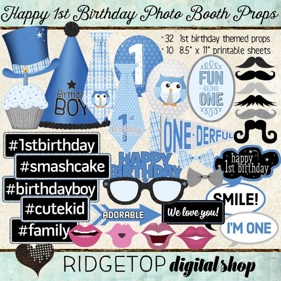 Photo Booth Props HAPPY 1ST BIRTHDAY Printable Sheets