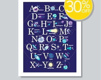30% OFF Astrophysics Alphabet Poster: science nursery art; space ABC poster; 18 x 24 print; choose colors; space theme wall art; boy or girl