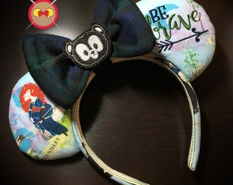 Brave Inspired Merida Mickey Ear Headband with Embroidered Saying and Bear Feltie