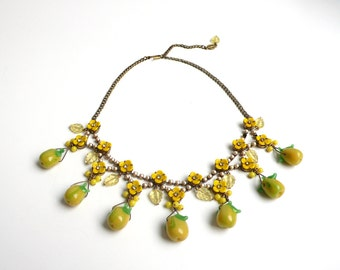 Necklace with faux pearls, vintage glass flowers, German handmade vintage lemon-shaped glass beads by DeLuxe Accessories