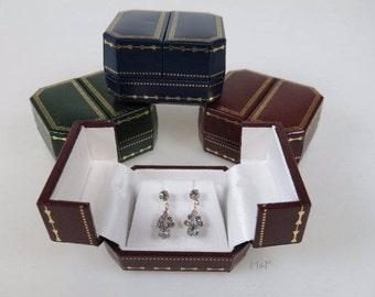 Luxury Antique Style Earring Jewellery Gift Box - Blue Burgundy Green