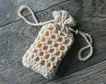 Crochet Hanging Soap Saver Bag - Handmade from 100% Cotton Yarn - Drawstring Washcloth Bar Soap Pouch - Bath Gift - soap bar not included