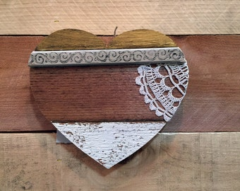 """8"""" Mini Reclaimed Wood Heart with Antique Lace"""