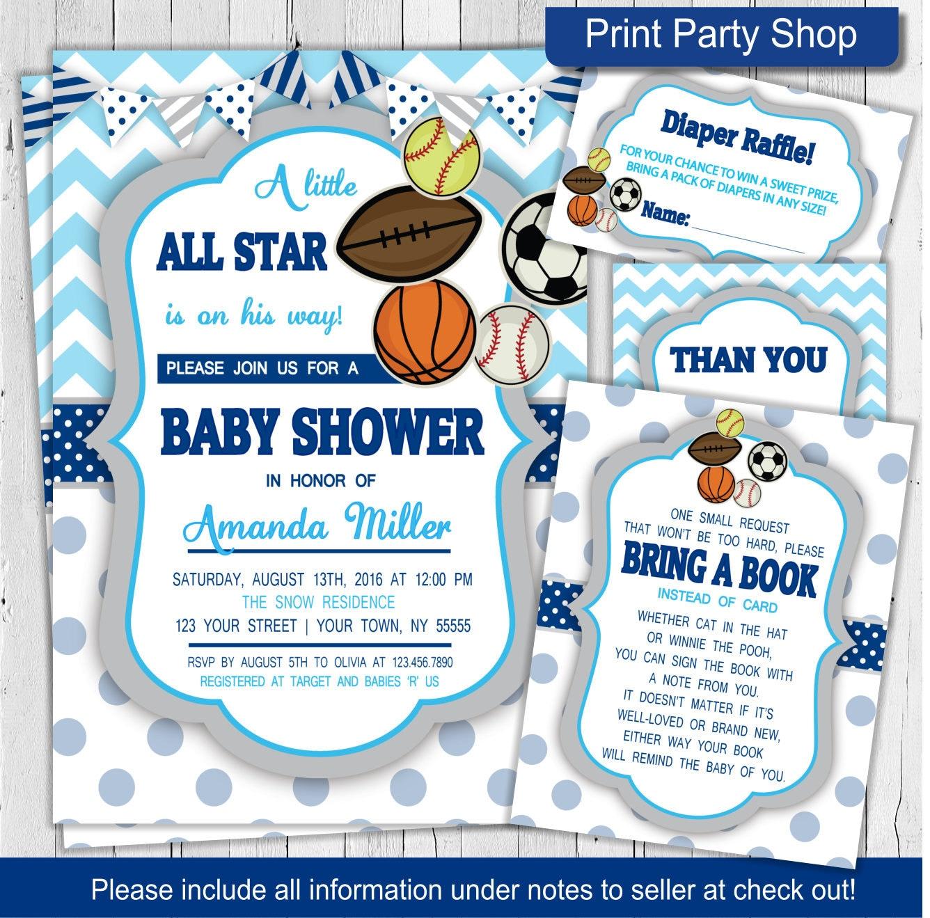 sports baby shower invitation boy baby shower invitation
