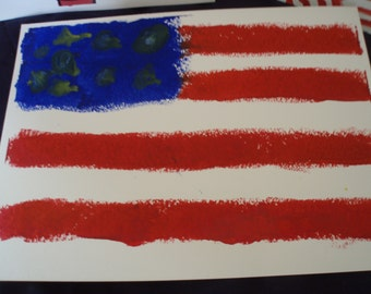 Flag made with melted crayon