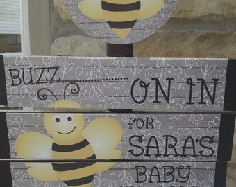Bumble Bee Baby Shower Yard Sign With FREE PRINTABLES