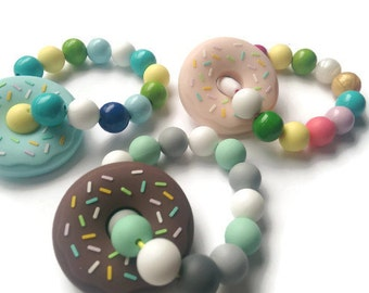 Silicone teether for baby, carrier clips, donut teether, teething rings, baby carrier toys, sensory toy, silicone teething, gift baby