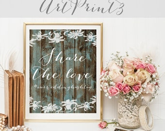Share The Love Wedding Sign Printable, Wedding Hashtag Printable, Hashtag Wedding Printable, Share the Love Sign, Social Media Wedding Sign