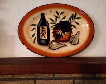 Beau Rivage Platter, Vintage Platter, Serving Platter, Designer Platter, Rustic Farmhouse Platter, Hand Painted Oval Platter
