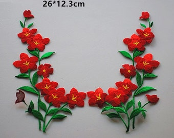 A Pair Embroidered Red Flower Applique Patch,Floral And Leaves Patch,Decorations Patch,Embroidery Applique