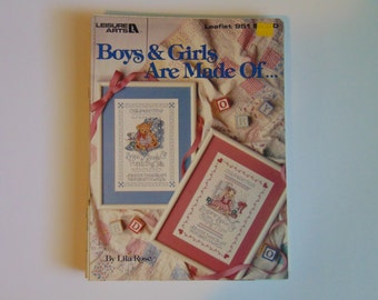 Boys & Girls Are Made Of Charted Cross Stitch Leisure Arts Leaflet 951 1990
